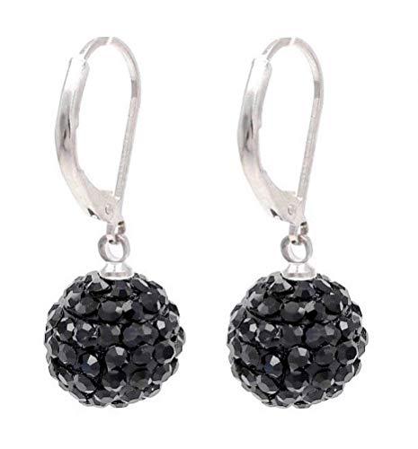 Pendientes de bola negra azabache de 12 mm, cierre de palanca.
