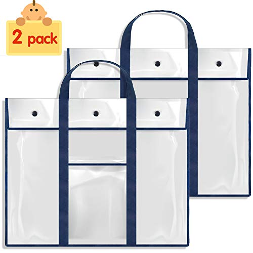Gamenote 2 Pack Large Poster Storage Bag (31.5×25.5) Bulletin Board Holder Art Portfolio Container for Teachers Classroom Organization