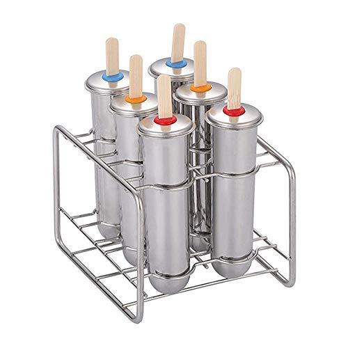 MISS YOU Molde Crema de Helado de Acero Inoxidable Reutilizable Moldes de Helado Moldes de paletas Conjunto de moldes de paletas, Molde de Helado (Paquete de 6)