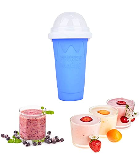 Aigid Taza de enfriamiento, Taza de Hielo para Hacer granizados, portátil de Viaje, Taza de Silicona de Doble Capa, Taza de enfriamiento rápido, Botellas de batido(Azul)