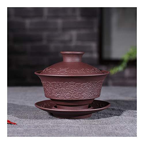 Teapot Purple Clay Tea cup Bowl With God King Kung Fu Tea Cup TongLingUSL (Color : Purple mud)