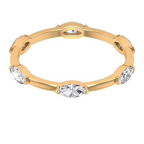 Anillo de diamante en forma de marquesa de 3/4 quilates, moderno anillo de boda, anillo de novia apilable, anillo minimalista de dama de honor, 18K Oro amarillo, Size:EU 56