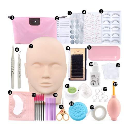 LLZJ False Eyelash Extension Kit,Practice Model Head,Eye Pads,Tweezers,Glue,Ring Brush,Training,Grafting Eyelash Tools Kit (Color : 20 in 1)