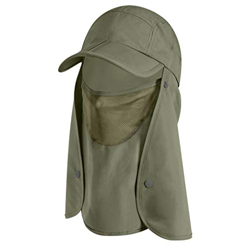 SUN CUBE Sun Cap Fishing Hat with Neck Face Cover Flap, Sun Protection Cap with Flap for Hiking Safari Men Women UPF50+ (Olive)