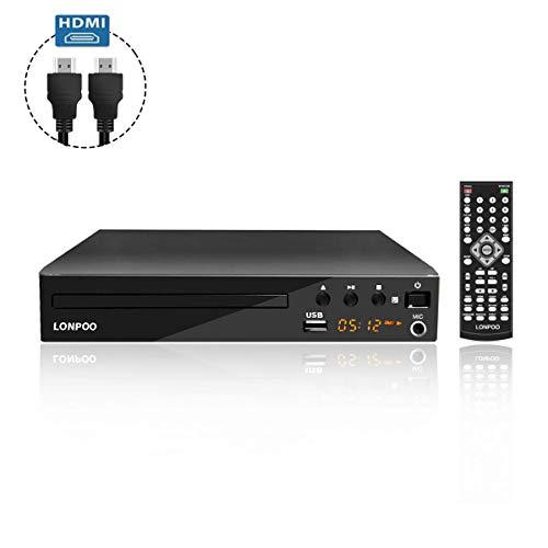 Kompakt DVD-Player HDMI Multi-Regionen Code-Free (1080P Upscaling, mit HDMI, Cinch, USB-Eingang, MIC-Anschlüsse Ports und Fernbedienung, mit HDMI & AV Kabel)