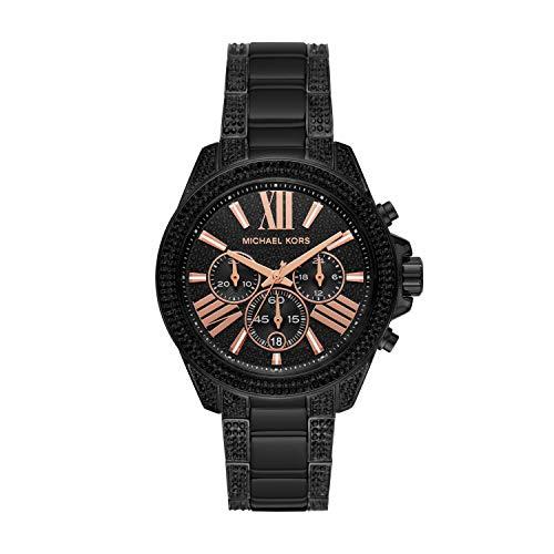 Michael Kors Women's Wren Quartz Watch with Stainless Steel Strap, Black, 20 (Model: MK6708)