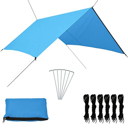 Tidyard Outdoor Tarp Lightweight Waterproof UV Protection Camping Canopy for Snow Sunshade for Camping Outdoor Travel 3x2.85 m Blue