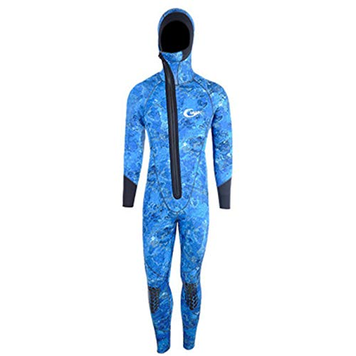 Scuba Frente con Cremallera de 5 mm de Manga Larga de Neopreno Hombre Buceo Snorkeling Snowsuit Subúmudo Caza Surfing Traje de baño,Blue Plus Velvet,XXXL