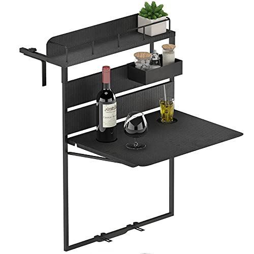 GDLF Waterproof Outdoor Metal Balcony Adjustable Table Folding Hanging Railing Patio Bar for Patio, Garden, Deck, Rattan Effect Surface