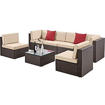 YAHEETECH 7 Pieces Patio Furniture Set, PE Rattan Wicker Outdoor Sofa Set Outdoor Sectional Sofa Conversation Set with Khaki Cushions and Tea Table, Brown
