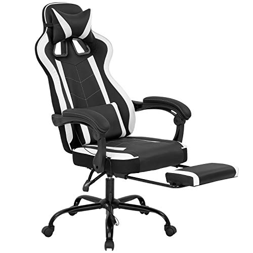 PC Gaming Chair Ergonomic Heavy Duty Racing Office Chair Video Game Chair, Massage Function Lumbar Support with Reclining Armrest Footrest & Headrest PU Leather Desk Chair, Best Home Computer Chair