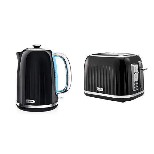 Impressionen Wasserkocher & Toaster Set mit 2 Scheiben Toaster & Wasserkocher, Schwarz
