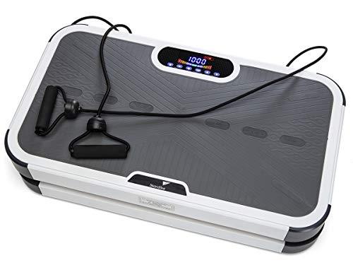 skandika Vibrationsplatte 900 Plus 3D Vibration 2 leise Motoren mit Smartphone-App und Bluetooth-Lautsprecher   5 Programme + 60 Stufen   Inkl. Trainingsbänder, Fernbedienung, Poster   Fitnessgeräte