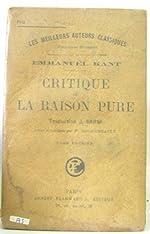 Critique de la raison pure tome premier de Kant