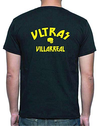 Tipolitografía Ghisleri Camiseta Negra Retro Ultras Villareal Talla M (en solicitud tallas XS S M L XL XXL envía mensaje con el número de pedido) Réplica - Tífosi Fútbol