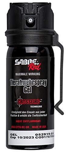 SabreRed Tierabwehr-Spray (Pfefferspray Gel) mit 'Crossfire' Technologie - Verteidigungs-Spray mit maximaler Wirkung in Behördenstärke, Flip-Top für einen sicheren und schnellen 360-Grad-Einsatz