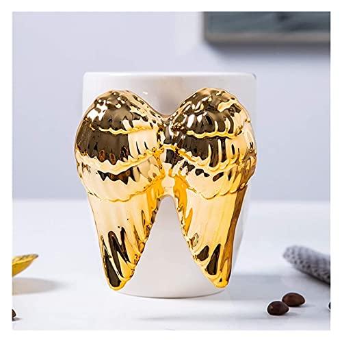 Taza de café taza de la bebida taza del ángel de café divertidas para las mujeres Milk Tea tazas de porcelana blanca de cerámica taza de café con una cuchara de metal como el cumpleaños, graduación, Á