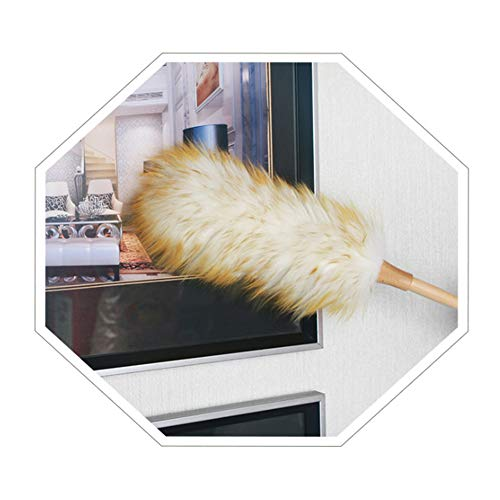 Birmingfive Lambs Wool Duster,Natural Feather Duster with Wood Handle for Cleaning Ceiling Fans,Window Blinds,Computer Screens and Bookshelves,17.7 inch Length
