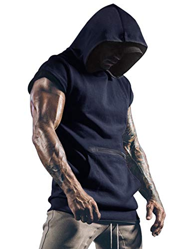 Lomon - Camisetas de gimnasio para hombre, camiseta deportiva, camiseta de tirantes fina para fitnes, sudaderas sin mangas, con capucha y bolsillos, azul marino, S