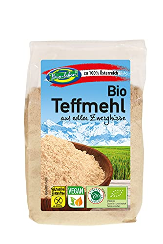 Harina de teff orgánica - 6 x 300 g - Sin OMG y sin gluten - Harina de mijo enano sin pelar, sin manzana y domo - de Austria - alimentos crudos