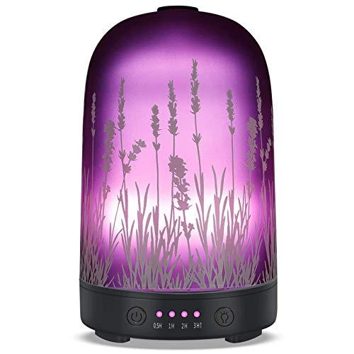 Difusor De Aceite Esencial, Difusor De Aroma Ultrasónico De Lavanda, Humidificador De Aire De Vidrio Con Luz Nocturna De 7 Colores Y Apagado Automático Sin Agua