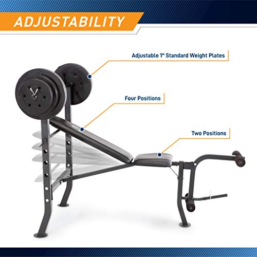 Marcy MD-2082W Diamond Elite MD Standard Bench with 100 lb. Weight Set