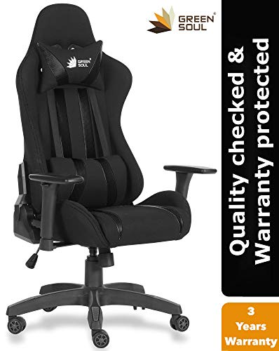 Green Soul Fabric and PU Leather Beast Gaming Ergonomic Chair (Armour Black; Medium)
