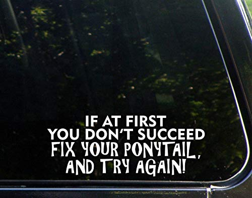 Promini calcomanía de vinilo antipolvo – If at First You Don't Succeed Fix Your Ponytail and Try Again – calcomanía de 8 cm para ventanas, coches, camiones, ordenadores portátiles o cualquier superfic