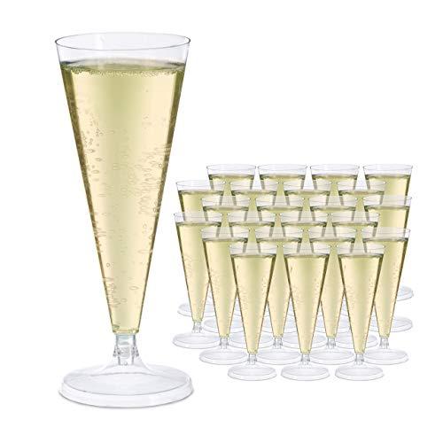Relaxdays Set de 24 copas de champán desechables, 0,1 L, 18 x 7 cm, Transparente