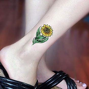 SanerLian Set of 5 Waterproof Temporary Fake Tattoo Stickers Yellow Sunflowers Plant Green