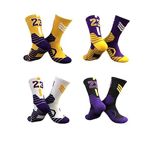 WWJJE 4er Pack Socken, Basketball Socken mit Basketball Logo Crew Länge-James
