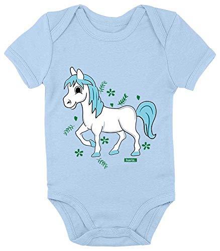 Hariz - Body de manga corta para bebé, diseño de caballo con animales y tarjeta de regalo azul...