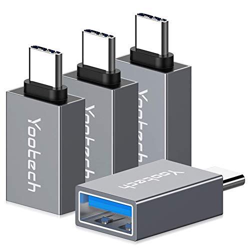 yootech Adaptador USB C a USB 3.0 [4 Pack], OTG con Uso en Paralelo,Conector de tranferencia de Datos para Samsung, Huawei, MacBook Pro 2019/2018, ChromeBook Pixel y Otros Dispositivos con USB C-Gris