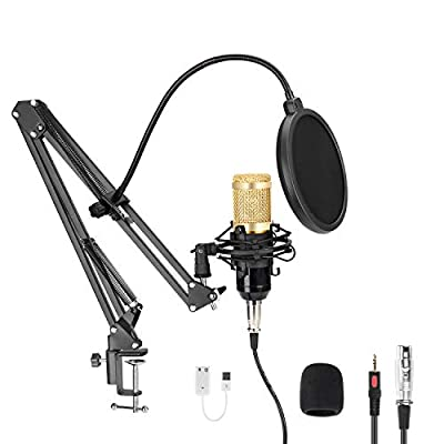 USB Streaming Podcast PC Microphone, MAYOGA Professional 192KHZ/24Bit Condenser Microphone Kit with Sound Card, Studio Cardioid Condenser Mic Kit for Skype YouTuber Karaoke Gaming Recording