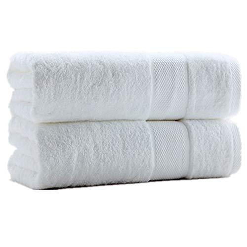 SUMC Toallas de baño 600GSM Toallas de baño de algodón Juego de 2 piezas Toallas de baño Juego de toallas Regalo para hotel Familia, Blanco