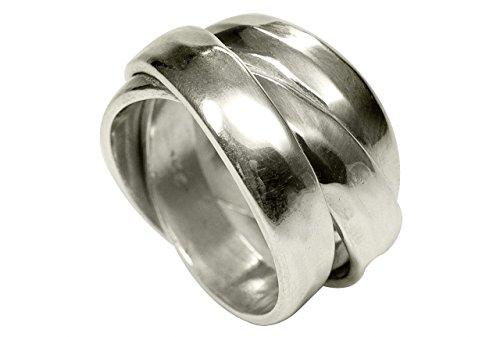 SILBERMOOS Ring Damenring Dreierring einfach gewickelt glänzend gehämmert Struktur Sterling Silber 925, Größe:54 (17.2)