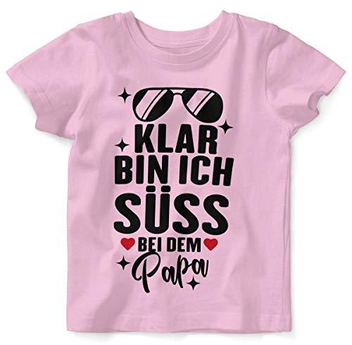 Mikalino Baby/Kinder T-Shirt mit Spruch für Jungen Mädchen Unisex Kurzarm Klar Bin ich süß - bei dem Papa   handbedruckt in Deutschland   Handmade with Love, Farbe:rosa, Grösse:80/86