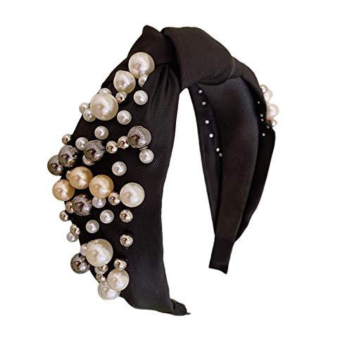 Milageto Diademas de Perlas Diademas de Nudo Ancho para Mujer Turbante Diadema Aro de Pelo - Negro