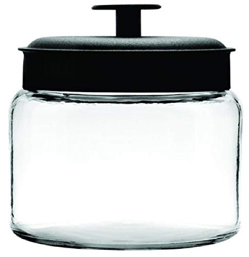 Anchor Hocking Montana Glass Jars with Airtight Lids, Black Metal, 64 oz (Set of 2) - 2 quarts