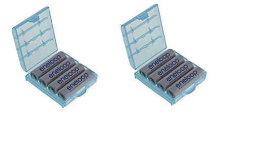 8er Pack Panasonic ENELOOP Mignon Typ AA Akkus 2000 mAh BK-3MCCE (Mind. 1900mAh) mit 2X hochwertigen Akkuboxen der Firma HEIBA Electronics