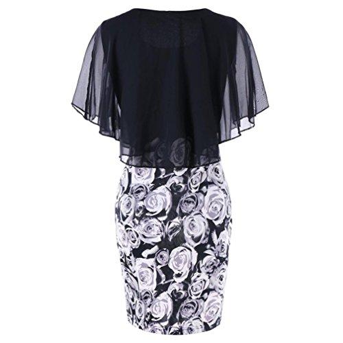 MRULIC Damen Abendkleid Slim-fit Wickelkleid Elegantes Kleider Chiffon Rose Drucken Rundhals Ärmellos Kimono Cocktailkleid Party Kleid