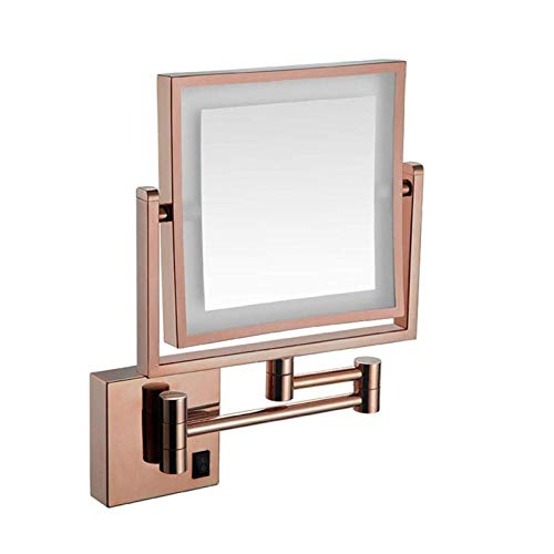 junranxingpifabu 8 Inch Extendable Lighted Makeup Mirror, Bathroom 5X Magnification LED Mirror, Solid Brass, Wall Mounted Bathroom Mirror (Size : Square 3X Plug)