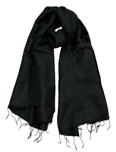 Exklusiv Seidenschal Pure Silk ca. 180 cm x 75 cm uni, Farbe Schals:black (2)