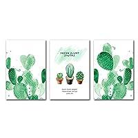 壁の芸術、新しい中国風の緑のサボテンのキャンバスの絵画美的芸術壁のポスター植物花の写真リビングルームフレームなし