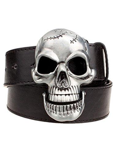 Moolecole Fashion Men Skull Head Leather Buckle Belt Waist Band Jeans Decorative Punk Belt Black