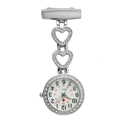 AOBAMA schwesternuhren,Krankenschwester Uhren Frauen Taschenuhr Clip-on Herz Anhänger hängen Quarz Uhr für Neue Arzt Krankenschwester Uhren-Weißer Stahl_C.