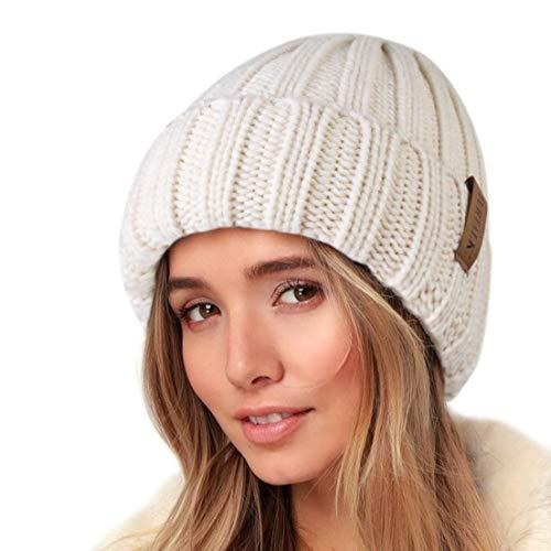 FURTALK Womens Knit Beanie Hüte Double Layer Baumwolle gefüttert Chunky Winter Slouch Style Cap, Beige, Einheitsgröße