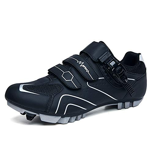 BETOOSEN Moutntain Cycling Shoes Men MTB Bike Shoes SPD Cleat Compatible Bike Shoes with Buckle (Black, 10 M US Men)