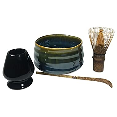 Matcha Tea Set Includes Matcha Bowl, Whisk and Stand for Traditional Japanese Tea Ceremony or Everyday Use by Princeton Wares. (Earth and Sea)