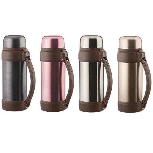Dimono® Vakuum Isolierkanne XXL 2 Liter Thermoskanne doppelwandige Isolierflasche Thermokanne Isokanne mit Tasse und Tragegurt (Schwarz-Metallic)